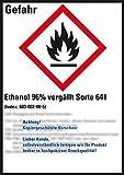 LEMAX® GHS-Etik.Ethanol 96% vergällt Sorte 641,gem.GefStoffV/GHS/CLP,52x74mm,10/Bogen