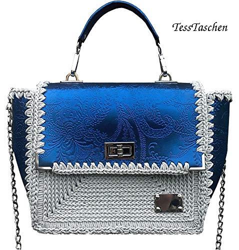 Damen klassische weiß-Blaue Leder Handtasche Kleine Umhängetasche mit Prägung Vegan Leder Tasche mit Muster Einzigartige Designer Tasche Canvas gestickte Tasche - Canvas Gestickte Handtasche