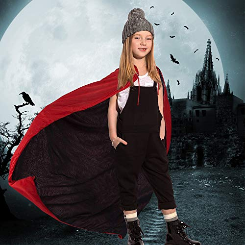 Kbnian Reversibel Halloween-Umhang Vampir-Dracula-Umhang Kostüm Schwarz & Rot (90cm)