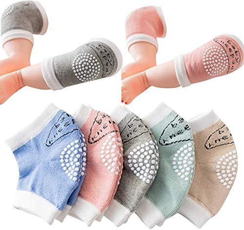 5 Paare Baby Knieschoner, Baby Knieschützer mit Gummipunkte anti-Rutsch, 6-24 Monate