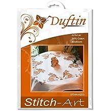 Duftin Mary Ann 07044-AZ03 - Kit de punto de cruz contado para mantel, lino y algodón, 80 x 80 cm, diseño de conejos