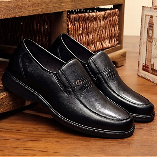 GRRONG Herren Lederschuhe Business Leisure Formal Kleid Schwarz Black