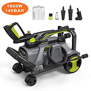 High Pressure Washer, AUTLEAD 1800W 140 Bar 468L/H Professional Pressure Cleaner, Adjustable Power Knob(20-140 Bar), with 3 Nozzles, Detergent Tank, 5M Hose, for Car, Home, Patio-HP03A