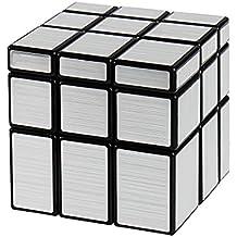 Andux Zone velocidad espejo mágico cubo Rompecabezas 3x3x3 YXMF-01 (Plata / Negro)