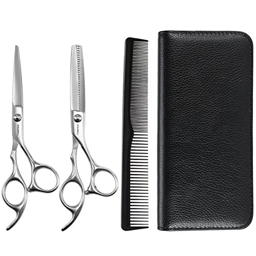 Healifty Professional Barber Shears Set Hair Cutting Scissors Set with Storage Case (Haircut Kit Home)