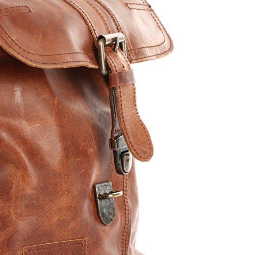 LECONI kleine Umhängetasche Damentasche Herrentasche Ledertasche für Damen + Herren Tasche aus Leder 22x26x6cm LE3033 braun – waxy