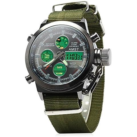 amst luminoso da uomo cinturino in nylon militare Dive LED quarzo polso orologio digitale