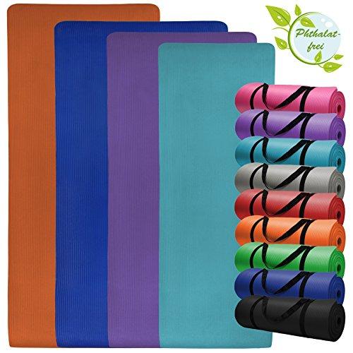 Yoga-Matte in vielen verschiedenen Größen und Farben rutschfest phthalatfrei für Gymnastik Turnen Pilates extra dick, Farbe:Combat Black;Maße:180 ...