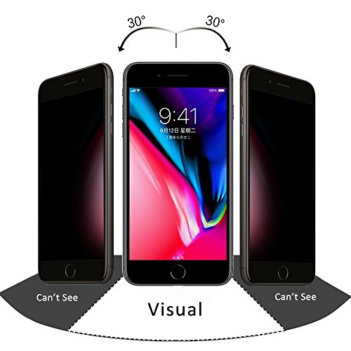 Apple iPhone 7 8 Plus Panzerglas, Pavoscreen Privacy Glas iPhone 7/8 Plus, 9H Anti Kratz 3D Touch Fit, Blickschutz Anti Spy für 5.5 Zoll [Anti-spy, Schwarz]