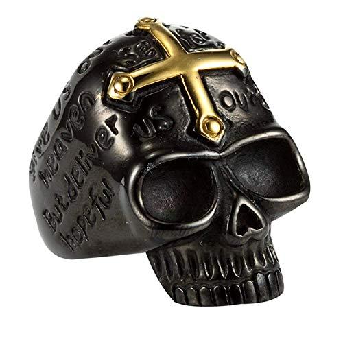 XIABME Gold Cross Skull Tatto Engraved Ring 316L Stainless Steel Mens Rings