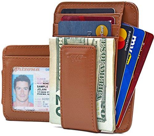 MVP Collection Dünne und minimalistische Falttasche mit starkem Magnet-Geldclip für Herren, effektive RFID-blockierung - Braun - Klein - Magnet Clip Geld Holder Card