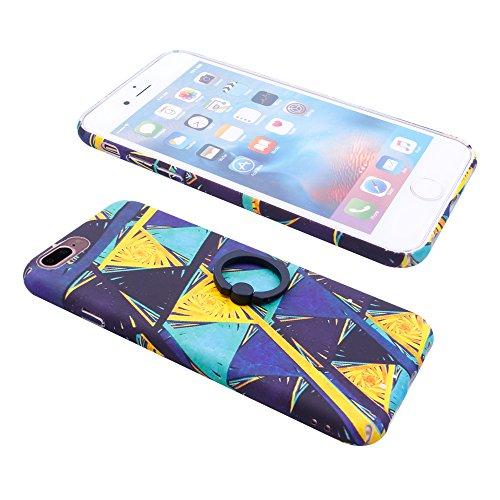 iProtect Hardcase mit Ring Halter Marmor Design Schutzhülle in Schwarz mit Fingerhalterung für Apple iPhone 7 Plus Dreiecke bunt