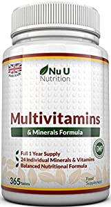 Multivitamins & Minerals Formula - 365 Tablets by Nu U Nutrition (Up to 1 Year Supply) – 24 Vitamins and Minerals for Men and Women, Suitable for Vegetarian's by Nu U Nutrition