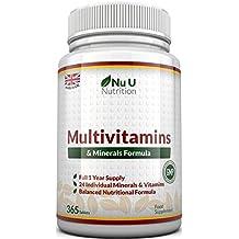 Fórmula Multivitamínica con Minerales - 24 Vitaminas y Minerales - Para Hombres y Mujeres - Apto para Vegetarianos - 365 Comprimidos (Suministro de Hasta 1 Año) - Complemento alimenticio de Nu U Nutrition
