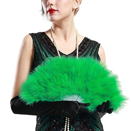 ArtiDeco Damen Fächer Marabou Feder 1920s Vintage Stil Retro Handfächer Damen Gatsby Kostüm Flapper Zubehör (Retro Kostüme Zubehör)