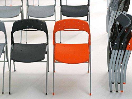 Eurosedia - BIRBA sedia pieghevole in plastica e struttura in alluminio, Con carrello, Colore: Antracite
