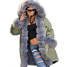 Roiii Abrigo largo, cálido para invierno, estilo vintage, con capucha, tallas de