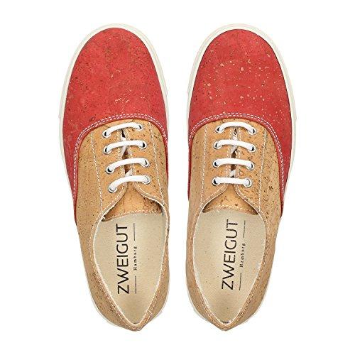 ZWEIGUT® -Hamburg- echt #406 Damen Sneaker vegane Korkschuhe auf federleichter Laufsohle, Schuhgröße:37, Farbe:rot-kork - 5