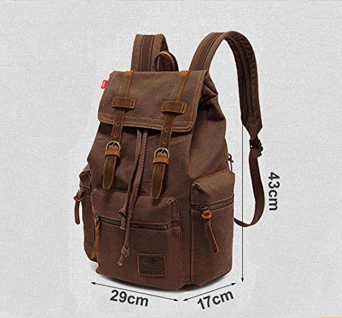 Alando vintage Canvas Rucksack Damen Herren Rucksäcke Retro Schulrucksack Backpack Daypack für Uni, Wandern, Outdoor Sport, freizeit, Einkaufen mit der großen Kapazität (Kaffe) Kaffe