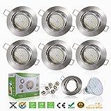 Liqoo 6 x GU10 4W LED da Incasso, Faretti da Incasso, Lamapda da Soffitto, Lampada a Risparmio Energico AC 220-240V Bianco 4000K 400LM Angolo a Fascio 120 Gradi Ra 80 Non Dimmerabile