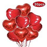 Parsion 30 Stück 18 Zoll Rot Herzballons Folienballons Luftballons Herzform Heliumballons Herzluftballons für Geburtstag Valentinstag Hochzeit Verlobung