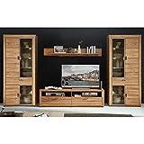 Lomadox Wohnwand Wildeiche massiv, 2 Vitrinen inkl. LED, 180cm TV-Lowboard, montierte Möbel
