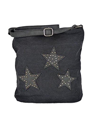 Canvas Tasche aufgenähte Sterne und Nieten - Damen Mädchen Teenager Umhängetasche - Maße ohne Schulterriemen 27 x 30 cm (schwarz)