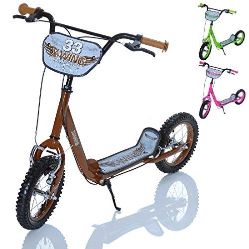 LCP Kids X-WING Kinder Roller Scooter als Tretroller mit Bremse, Farbe: braun