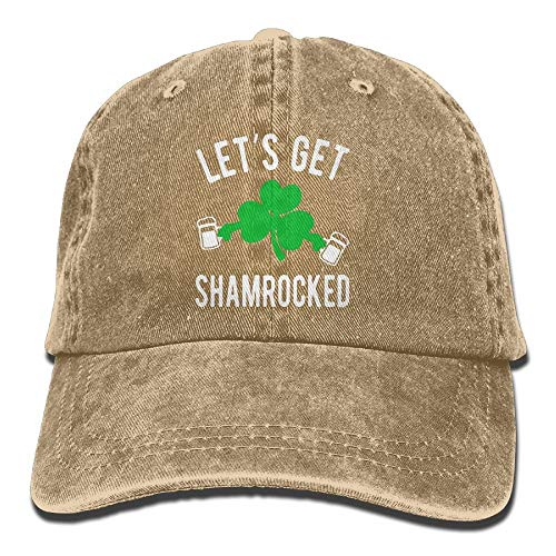 jiilwkie Let's GET Shamrocked St Patty's Day Vintage Washed Dyed Cotton Twill Low Profile Adjustable Baseball Cap Black (Hats Pattys St Tag)