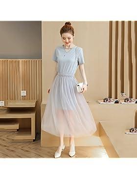 Coreano de verano falda falda larga de moda vestidos de gasa,S,azul claro