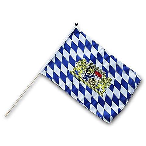 3 x HC-Handel 912191 Fahne Flagge Bayern 30 x 45 cm mit Holzstab blau/weiß