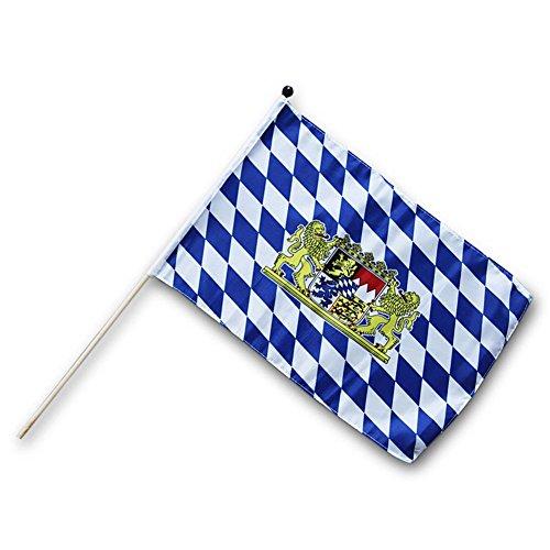 HC-Handel 912191 Fahne Flagge Bayern 30 x 45 cm mit Holzstab blau/weiß