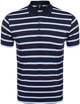 Coofandy Polo Rayas Hombre Camiseta Casual Manga corta con Botones Elasticidad