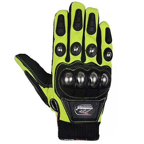 xiujun Stahl Outdoor verstärkte Messing Knöchel Motorrad POWERSPORTS Racing Textil Sicherheit Handschuhe, grün, xl