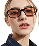 Vintage Frauen Männer Square Frame Shades Sonnenbrille Integrierte UV-Brille Retro-Herren Dame Square Sonnenbrille Classic Sunglasses Katzenaugen Brille Eyewear Outdoor Party Freizeit Brille (D)