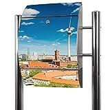 BANJADO Edelstahl Briefkasten groß, Standbriefkasten freistehend 126x53x17cm, Design Briefkasten mit Zeitungsfach Motiv Berlin Mitte