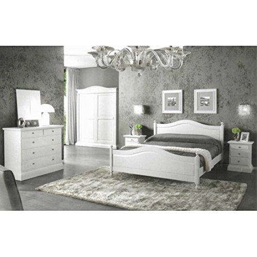 EsteaMobili Chambre de lit comme Photos Bois Massif Blanc Mat