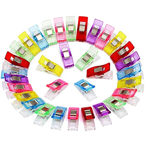 U 100 Stück Stoffklammern Verschiedene Farben Gefärbt Clips Schellen, Nähen Zubehöre Quilting Clips Kunststoff Häkeln mit Häkchen für Nähen -