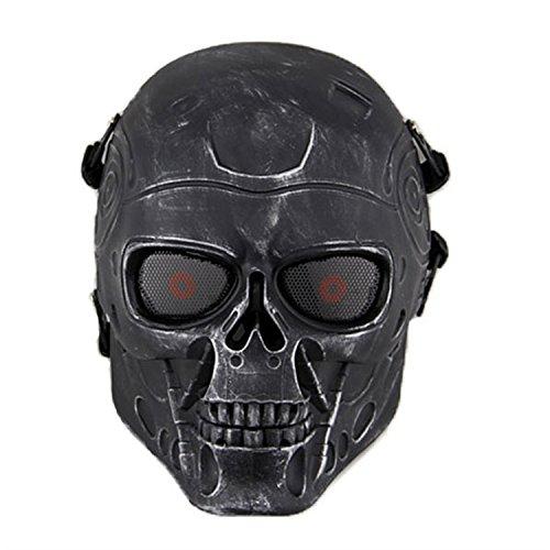 haoYK Full Face Airsoft Maske Taktische Paintball CS Schutzausrüstung Ausrüstung mit Metallgewebe Augenschutz (Silber Schwarz) -