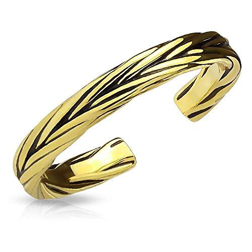 Bungsa Gold - Toe Ring Verziert für Damen ~in 3 Farben Wählbar~ Silber Gold Rosé (Zehring Fussschmuck Fussring Toe-Ring Nail Ring Nagelring biegbar Verstellbar)