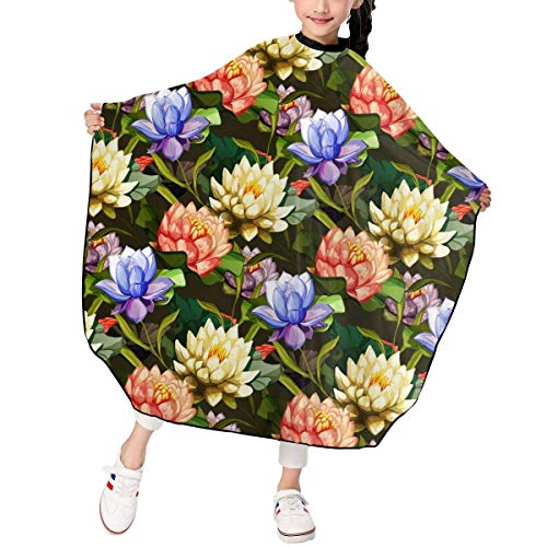 Girl Mime Kostüm - Lotus Flowers Roses Pattern Kids Girls Haircut Barber Cape Cover for Hair Stylist Salon Shampoo