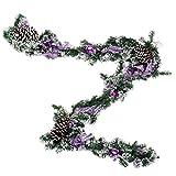 D DOLITY Tannengirlande Deko Girlande Hängende Girlande für Weihnachtsbaum, aus PVC- Kunststoff, Länge: 2 M - Lila