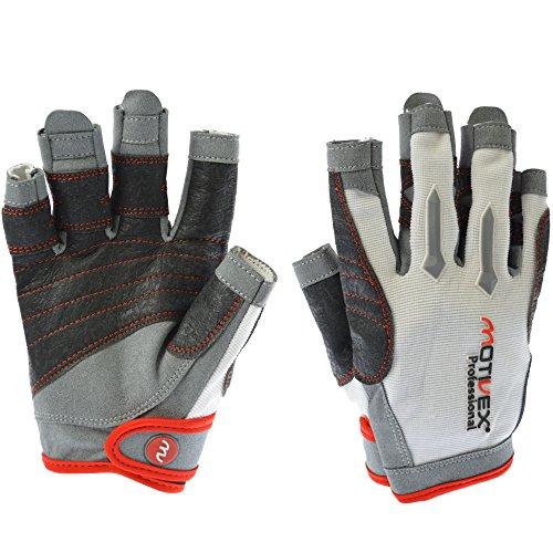 MOTIVEX® Professional Segelhandschuhe weiß/rot, Größe M