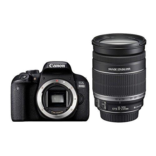 Canon EOS 800D Fotocamera Digitale, Obiettivo EF-S 18-200 mm f/3.5-5.6 IS, Nero