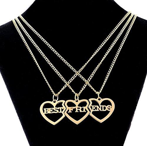 MJartoria Damen Kette Rosagold Farbe Drei Herz Anhänger Freundschaftsketten mit Gravur Best Friends Forever BFF Halskette 3 Stück (Golden Farbe)