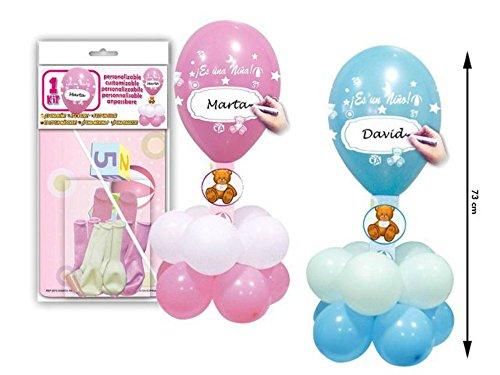 Lote de 6 Kits Centro de Globos 'Es un niño/a' Personalizables Colores. Juguetes y Regalos Baratos para Fiestas de Cumpleaños, Bodas, Bautizos, Comuniones y Eventos. (Azul)