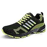 Damen Herren Laufschuhe Sportschuhe Turnschuhe Trainers Running Fitness Atmungsaktiv Sneakers(Grün,Größe 42)