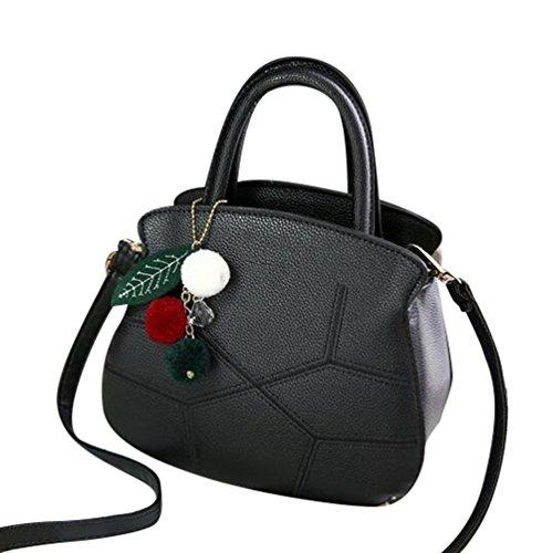 Baymate Schöne Frauen PU-Leder Schultertasche Handtasche mit Anhänger Schwarz