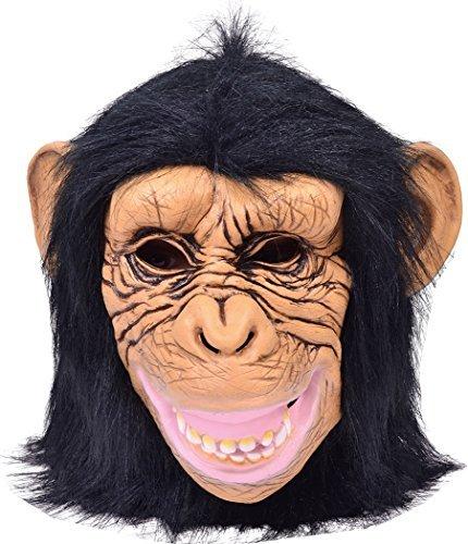 Tier Schimpanse mit Kapuze Gummi Maske Halloween Party Kostüm Zubehör