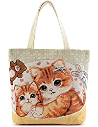 Cute Cat Canvas Tote Bag (2 Cats) By Rosenblue